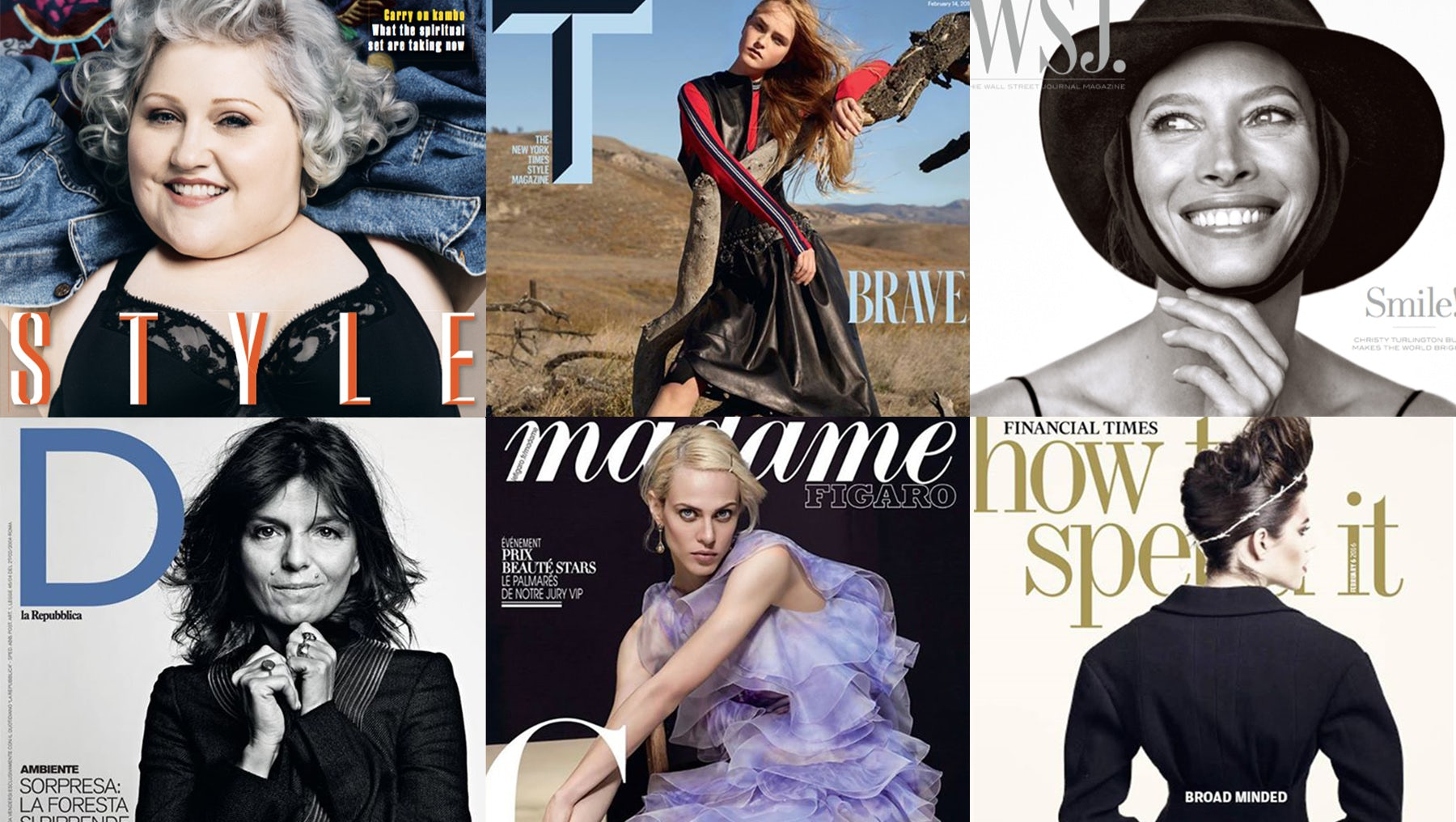 (Clockwise from top left) The Sunday Times' Style, T: The New York Times Style Magazine, The Wall Street Journal's WSJ., The Financial Times' How To Spend It, Le Figaro's Madame Figaro, La Repubblica's D | Photo: BoF
