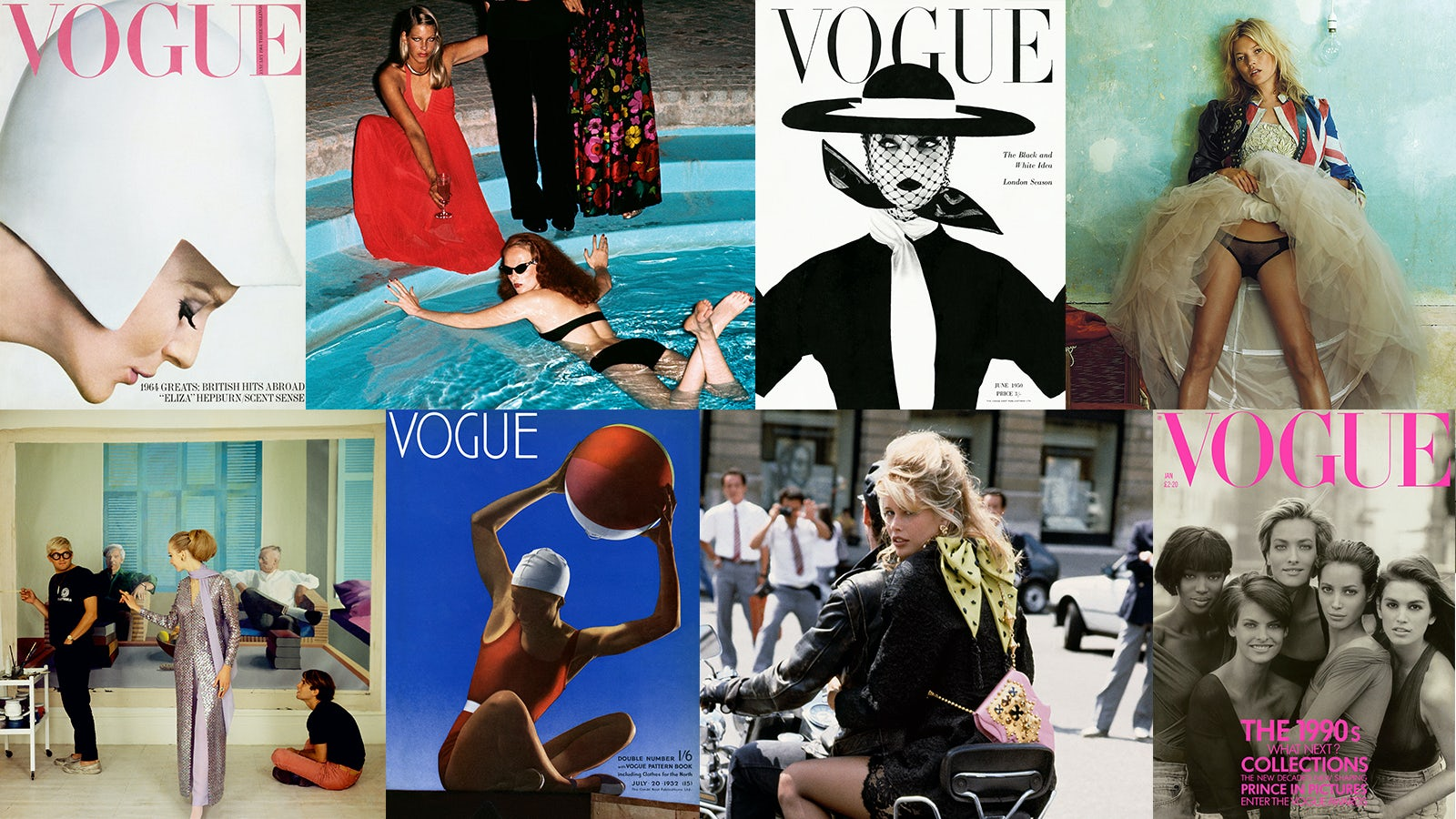 (L-R) Brian Duffy cover; Limelight Nights by Helmut Newton; Irving Penn cover; Kate Moss by Mario Testino ©Mario Testino; David Hockney, Peter Schlesinger and Maudie James by Cecil Beaton; Edward Steichen cover; Claudia Schiffer by Herb Ritts; Peter Lindbergh cover | Source: Courtesy of Condé Nast