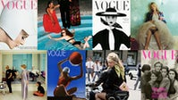 (L-R) Brian Duffy cover; Limelight Nights by Helmut Newton; Irving Penn cover; Kate Moss by Mario Testino ©Mario Testino; David Hockney, Peter Schlesinger and Maudie James by Cecil Beaton; Edward Steichen cover; Claudia Schiffer by Herb Ritts; Peter Lindbergh cover   Source: Courtesy of Condé Nast