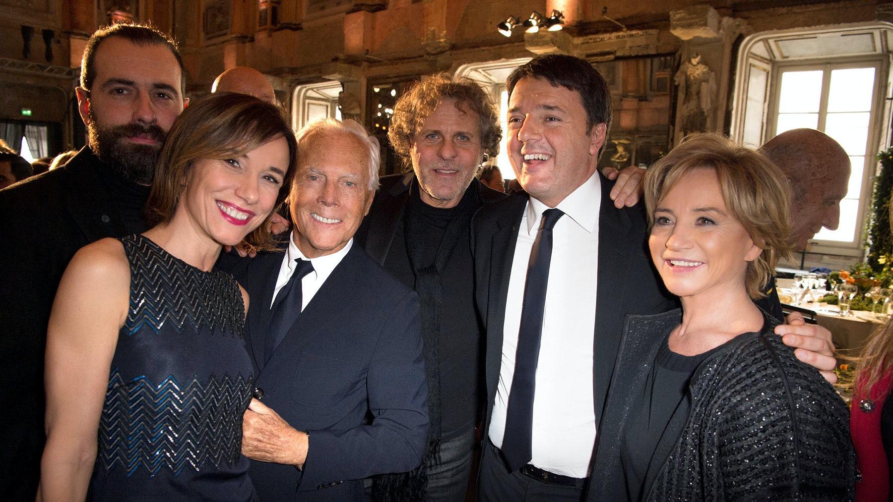 (From left) Giampietro Baudo, Silvia Grilli, Giorgio Armani, Matteo Renzi, Renzo Rosso, Alberta Ferretti | Source: Courtesy