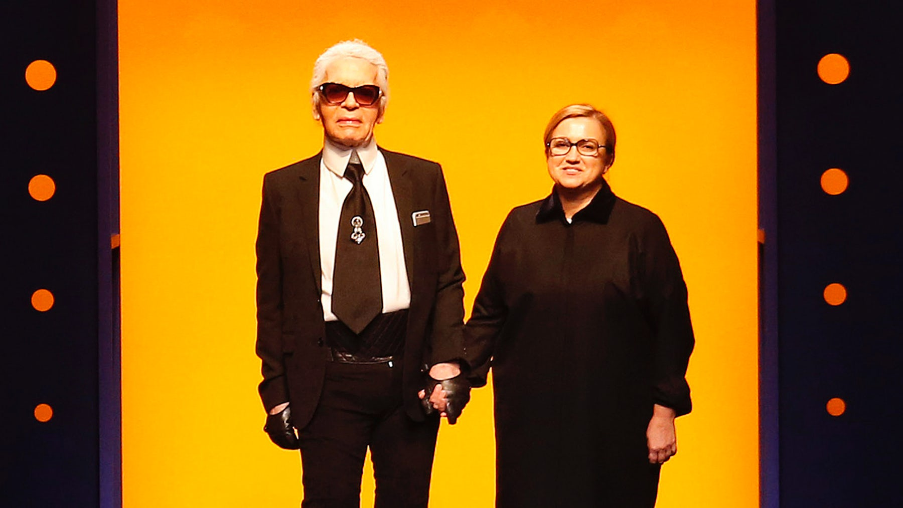 Karl Lagerfeld and Silvia Fendi at Fendi's Autumn/Winter 2016 show | Source: Indigital