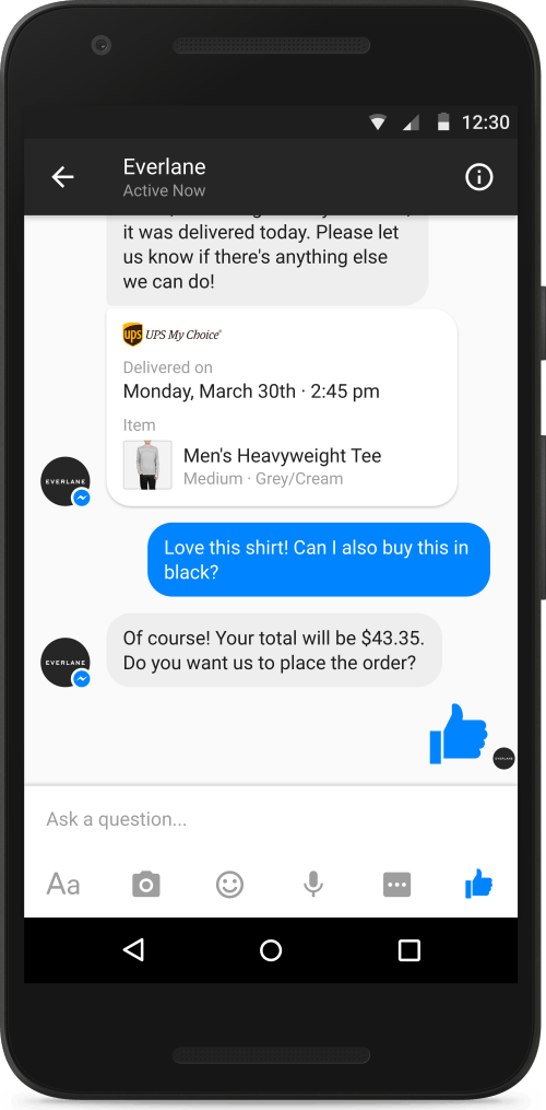 Everlane's website, with Facebook's Messenger app integration | Source: Courtesy