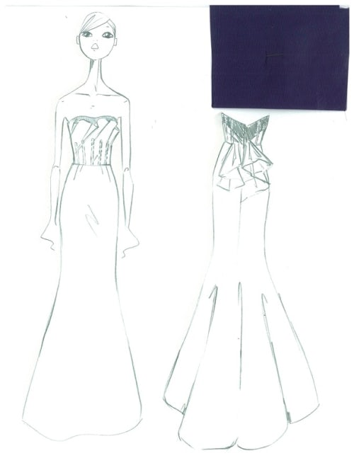 b4b857685 Sketch for Reese Witherspoon's Oscar de la Renta dress | Source: Courtesy