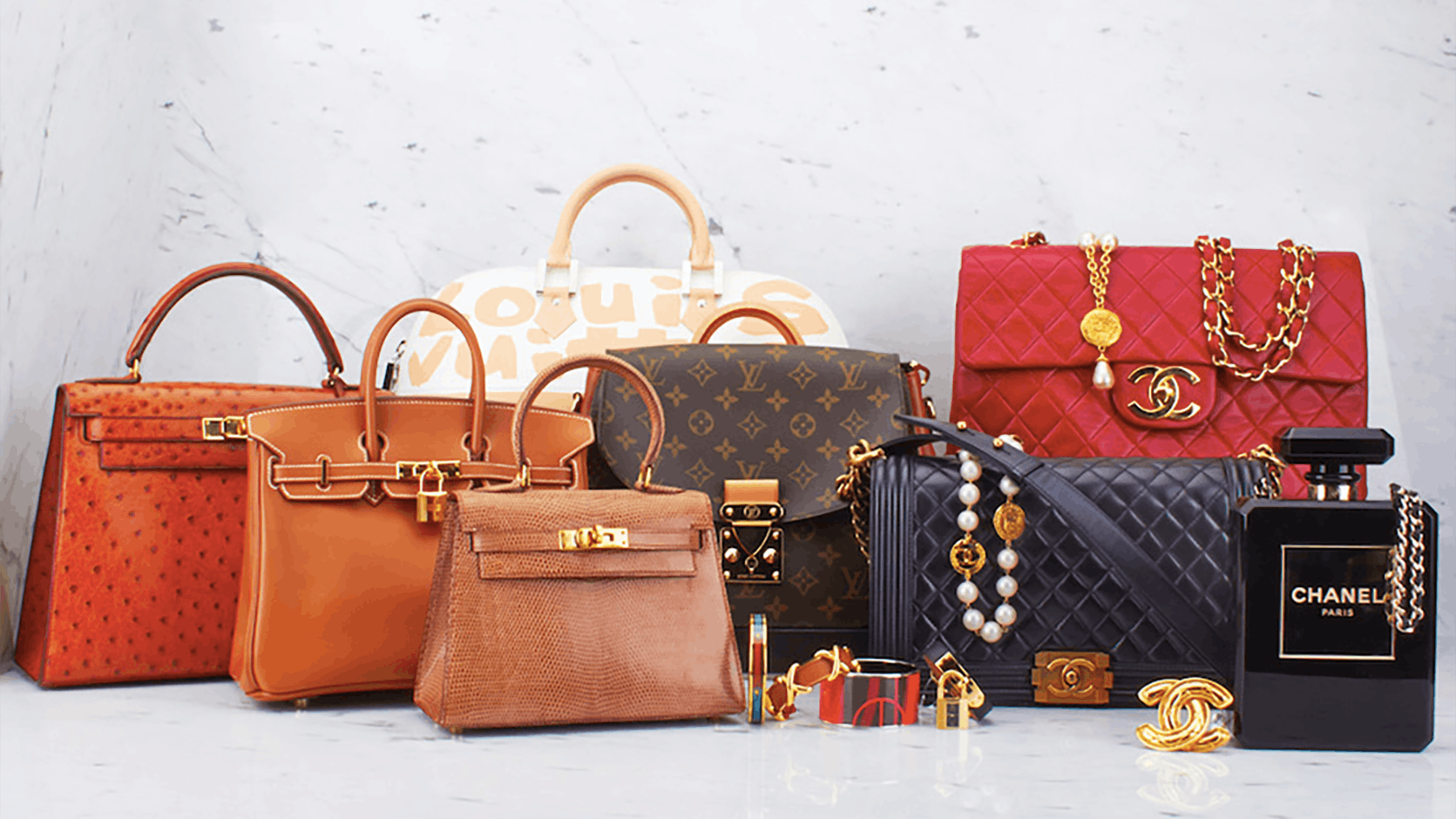 Bags by Hermès, Louis Vuitton and Chanel, sold by WGACA | Source: WGACA