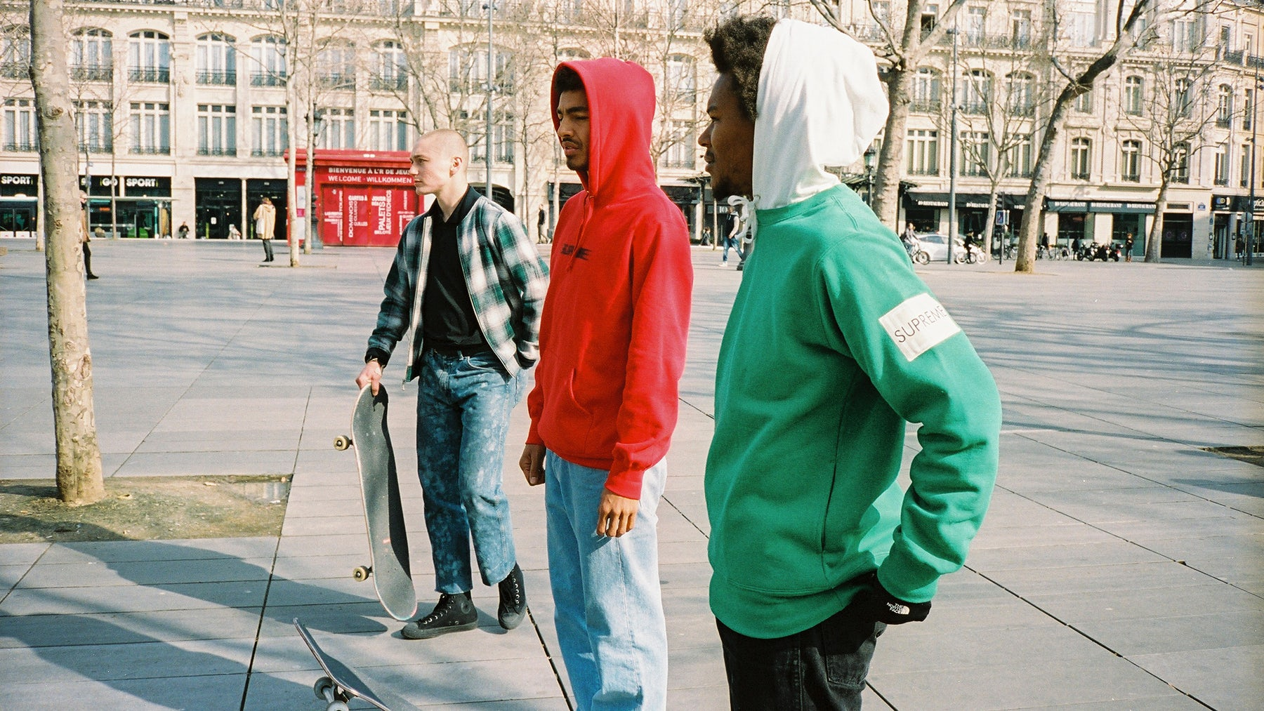 Ben Kadow, Sage Elsesser and Na-Kel Smith at Place De La République in Paris | Photo: Todd Jordan