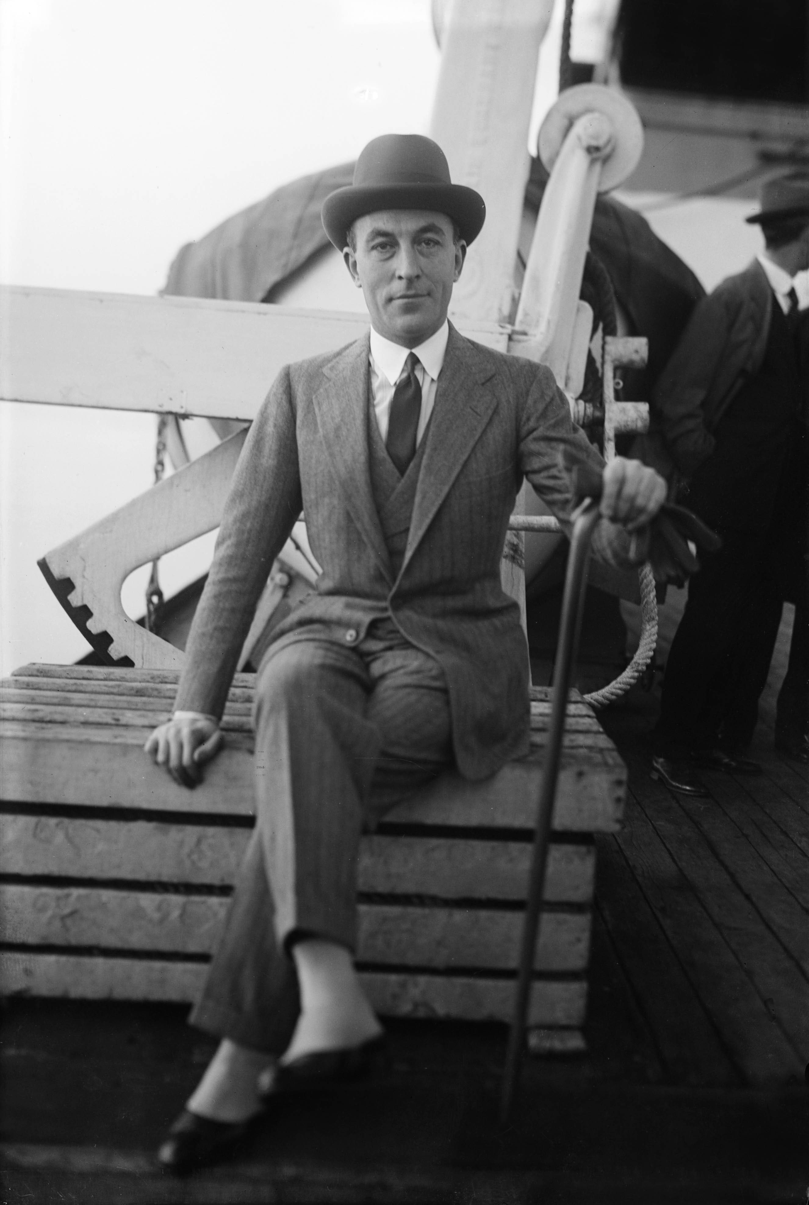 Jean Patou, here aboard a liner, c. 1925. | Source: Getty Images