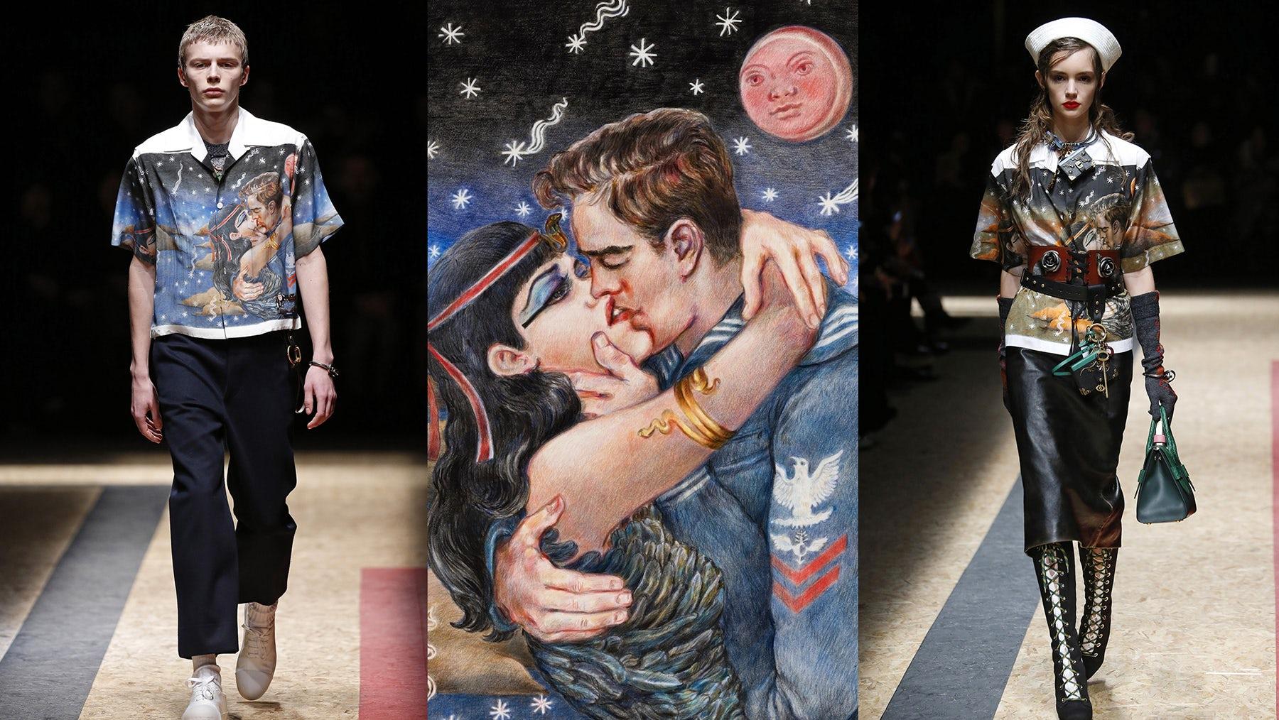 Left and right: Prada Autumn/Winter 2016 Men's and Women's; centre: Christophe Chemin's 'Impossible True Love' (2015)   Source: Courtesy