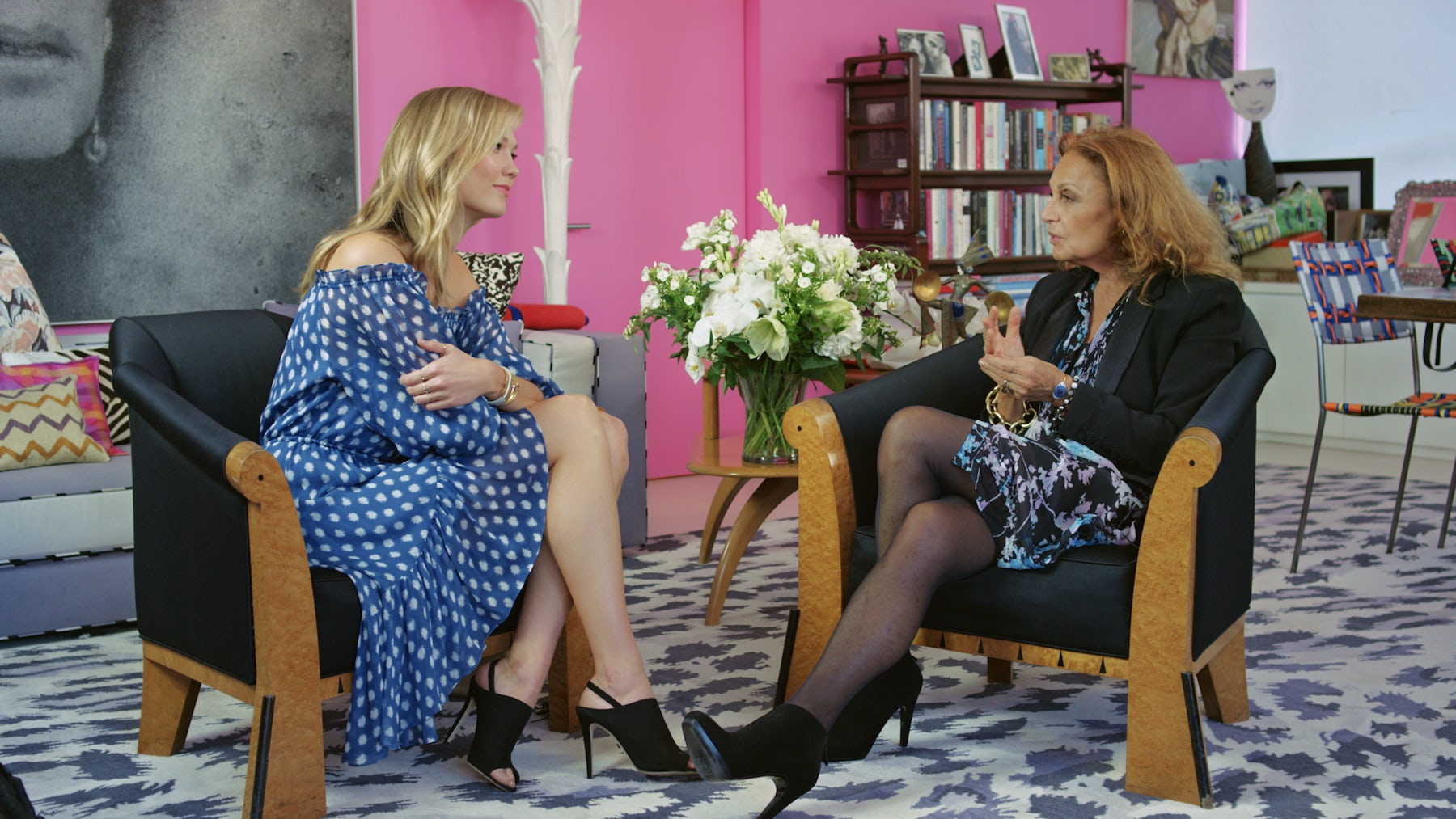 Karlie Kloss and Diane von Fürsternberg talk on M2M, a TV network launched by WME-IMG | Source: Courtesy