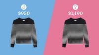 The difference in price for a men's and women's striped sweater by Saint Laurent | Illustration: Paul Price for BoF