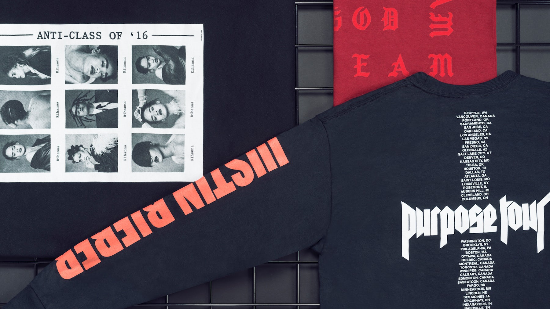 Merchandise from Rihanna's Anti tour, Justin Bieber's Purpose tour and Kanye West's the Life of Pablo album | Photo: Richie Talboy and Lucas Lefler for BoF