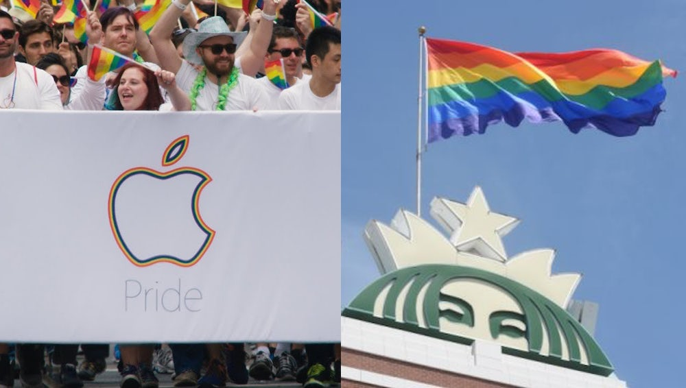 L: Apple employees attend a 2015 Pride march in San Francisco, R: Starbucks flies the Pride flag to celebrate the Supreme Court's ruling on marriage equality | Source: Apple/Starbucks