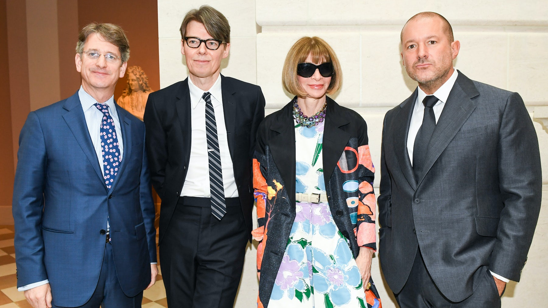 (L-R) Thomas Campbell, Andrew Bolton, Anna Wintour, Sir Jonathan Ive | Source: Courtesy of The Metropolitan Museum of Art/Joe Schildhorn/BFA.com