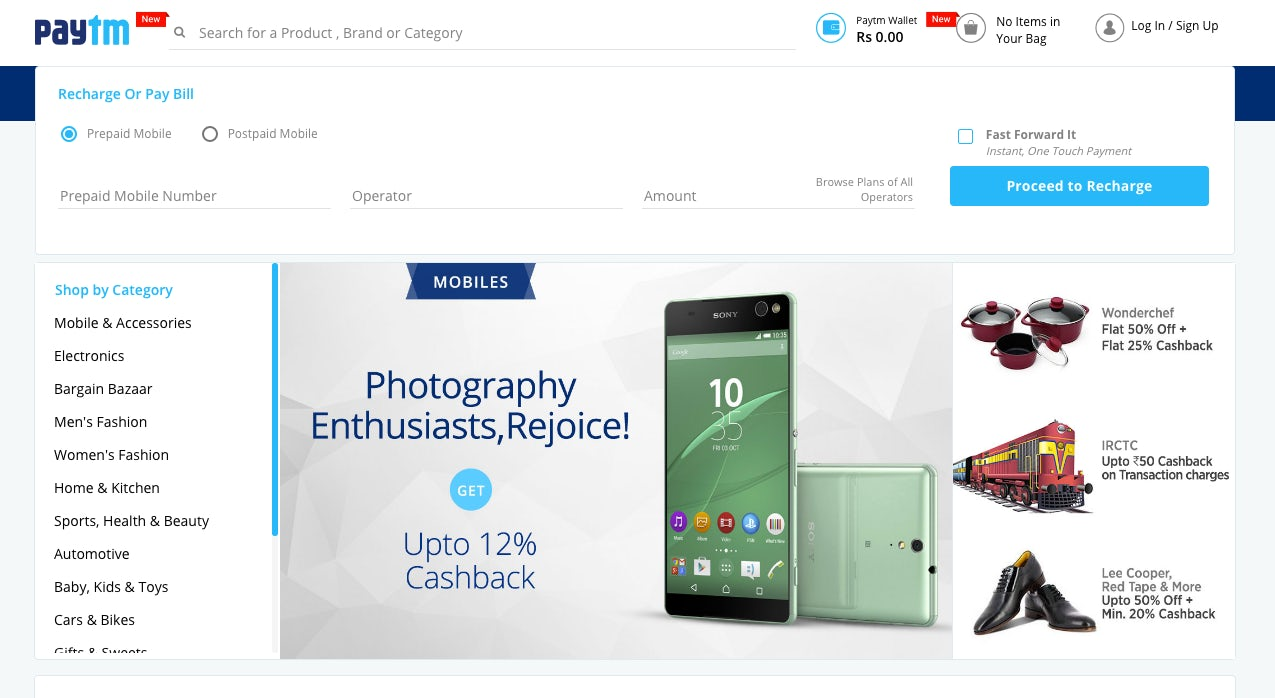 Paytm Website | Source: Paytm