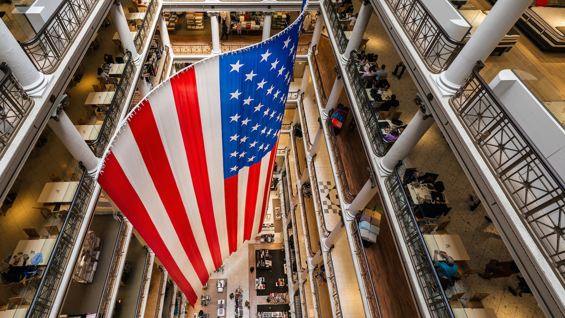 An american flag on display in Macy's in Chicago   Source: Shutterstock