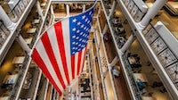 An american flag on display in Macy's in Chicago | Source: Shutterstock