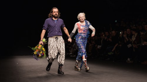 Vivienne Westwood and Andreas Kronthaler at the brand's Autumn/Winter 2016 menswear show in Milan