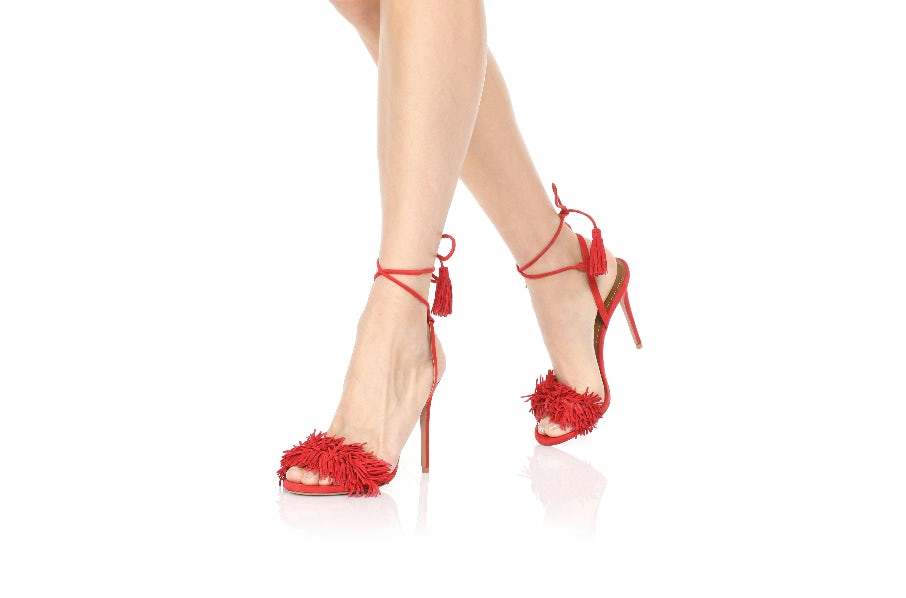 aquazzura red fringe sandals
