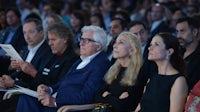 Stefano Sassi, Renzo Rosso, Patrizio Bertelli, Franca Sozzani and Livia Firth attend the 'Crafting the Future of Fashion' Summit in Milan | Source: Courtesy