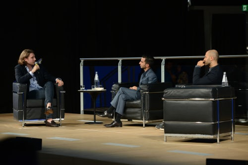 Edoardo Zegna (L) and Stefano Rosso (R) in conversation with Imran Amed | Source: Courtesy
