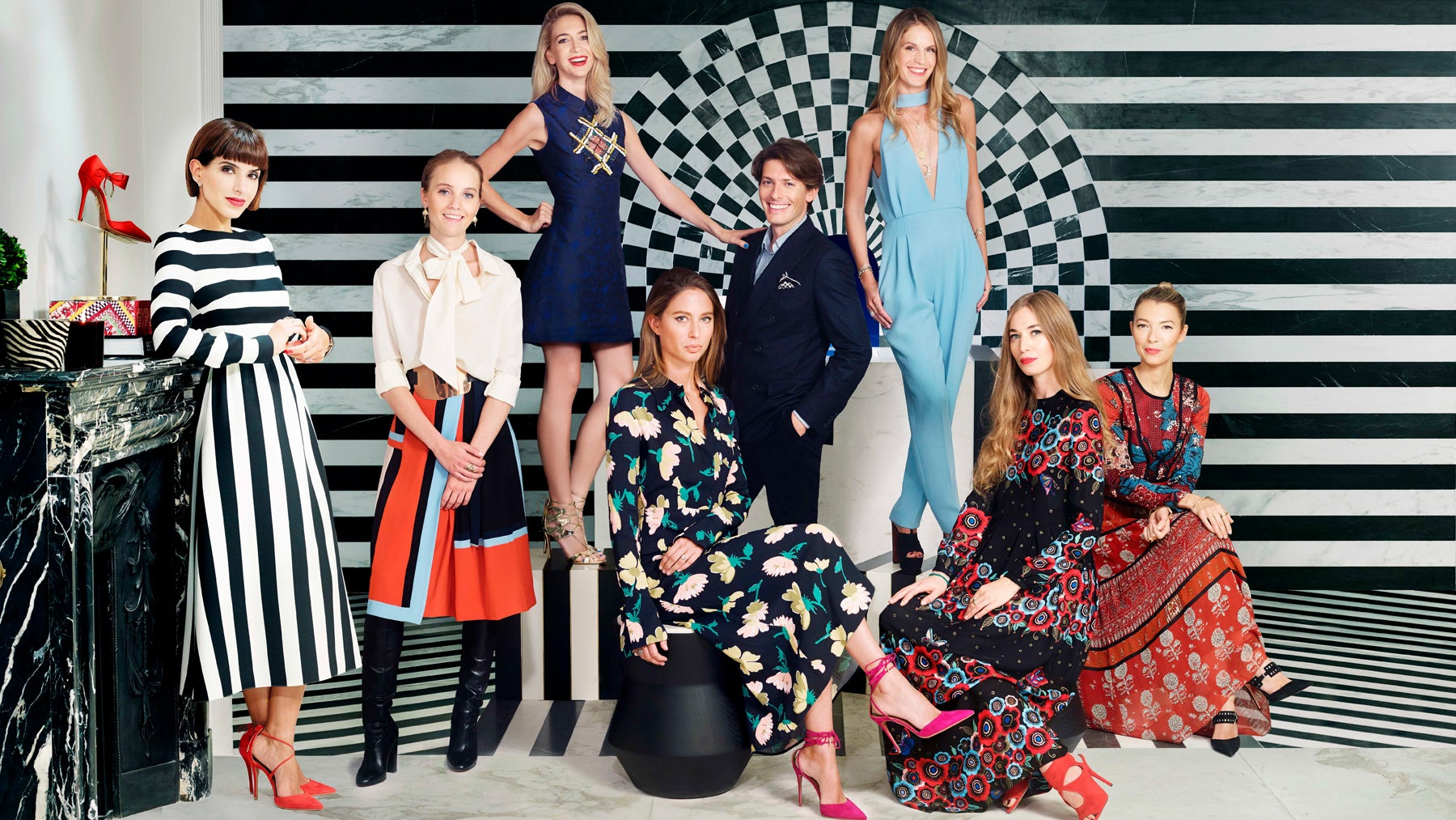 Aquazzura co-founder Edgardo Osorio with (L-R)  Deena Aljuhani Abdulaziz, Petra Palumbo, Sabine Getty, Jemima Jones, Eugenie Niarchos, Anouska Beckwith and Roberta Benteler | Source: Courtesy | Photographer Chris Floyd