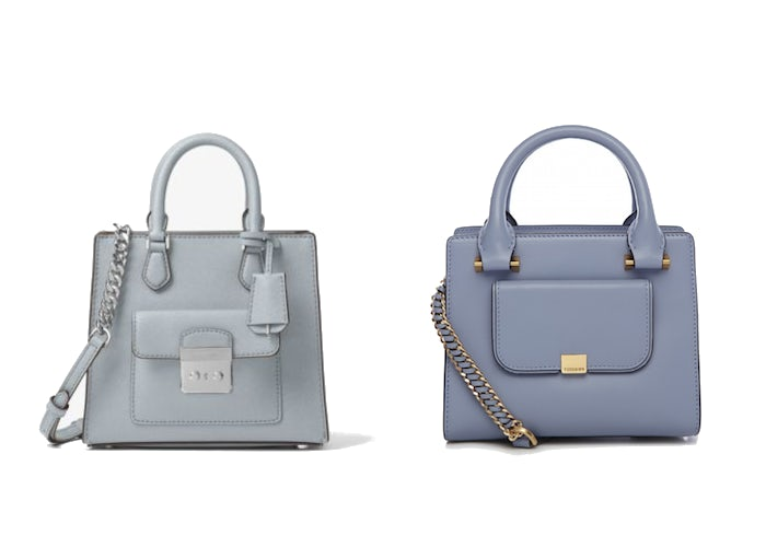 "(L-R) Michael Kors' ""Bridgette"" tote and Tuscan's ""Gem"" handbag 