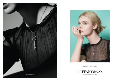"Elle Fanning stars in Tiffany's new campaign for its ""Tiffany T"" collection, art directed by Grace Coddington 