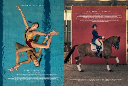 Synchronised swimmers Olivia Federici and Katie Clark and dressage rider Charlotte Dujardin in Harper's Bazaar UK | Photo: Harry Cory Wright