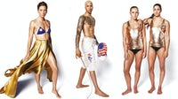 Swimmer Haley Anderson, fencer Miles Chamley-Watson and synchronised swimmers Mariya Koroleva and Anita Alvarez in Elle USA's August Issue | Photo: Max Vadukul/Illustration: BoF