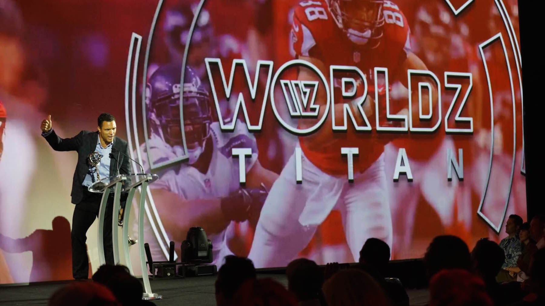 "Former American football player and CBS studio analyst Tony Gonzalez speaks at the ""WorldzAcademy"" event 