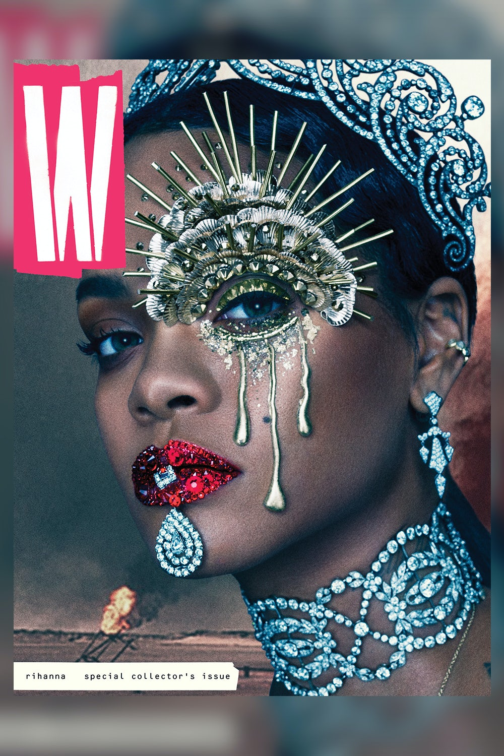 Rihanna as a queen during wartime on the cover of W magazine's September issue, art directed by Terry Jones | Photo: Steven Klein/Courtesy