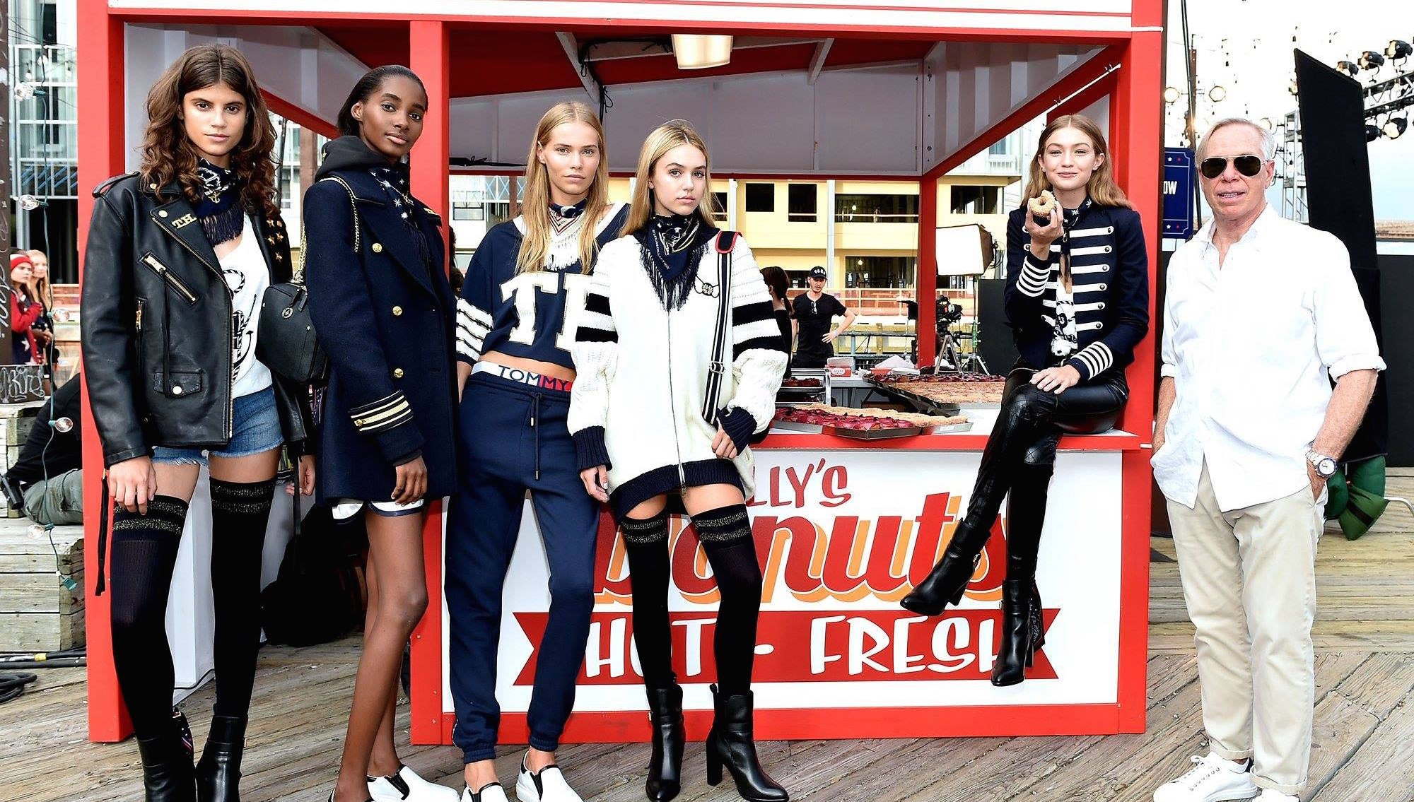 Tommy Hilfiger, Gigi Hadid and fellow models | Source: Tommy Hilfiger