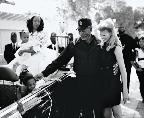 Morgan Freeman and Lara Stone wearing Miu Miu | Photo: Bruce Weber