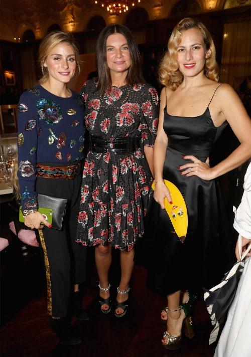 Olivia Palermo, Natalie Massenet and Charlotte Dellal   Photo: Dave Bennett