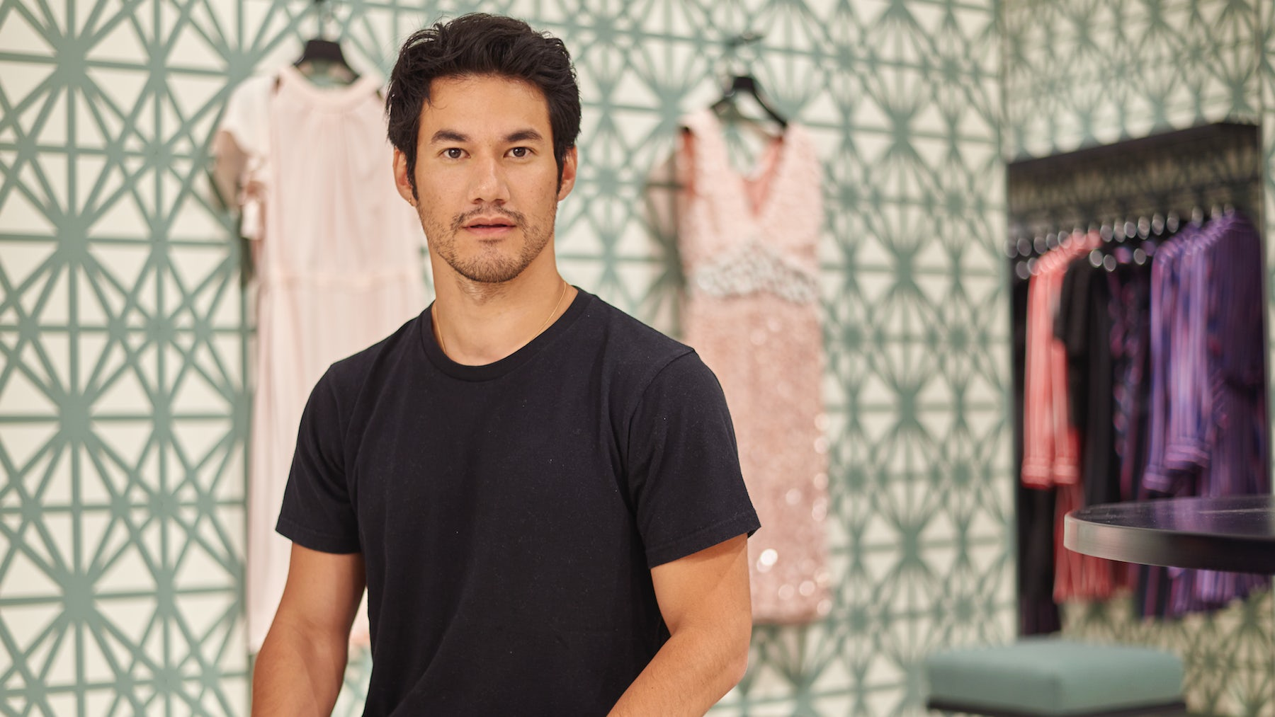 Joseph Altuzarra at his  shop-in-shop in Saks Fifth Avenue's New York City flagship. | Photo: Richie Talboy for BoF