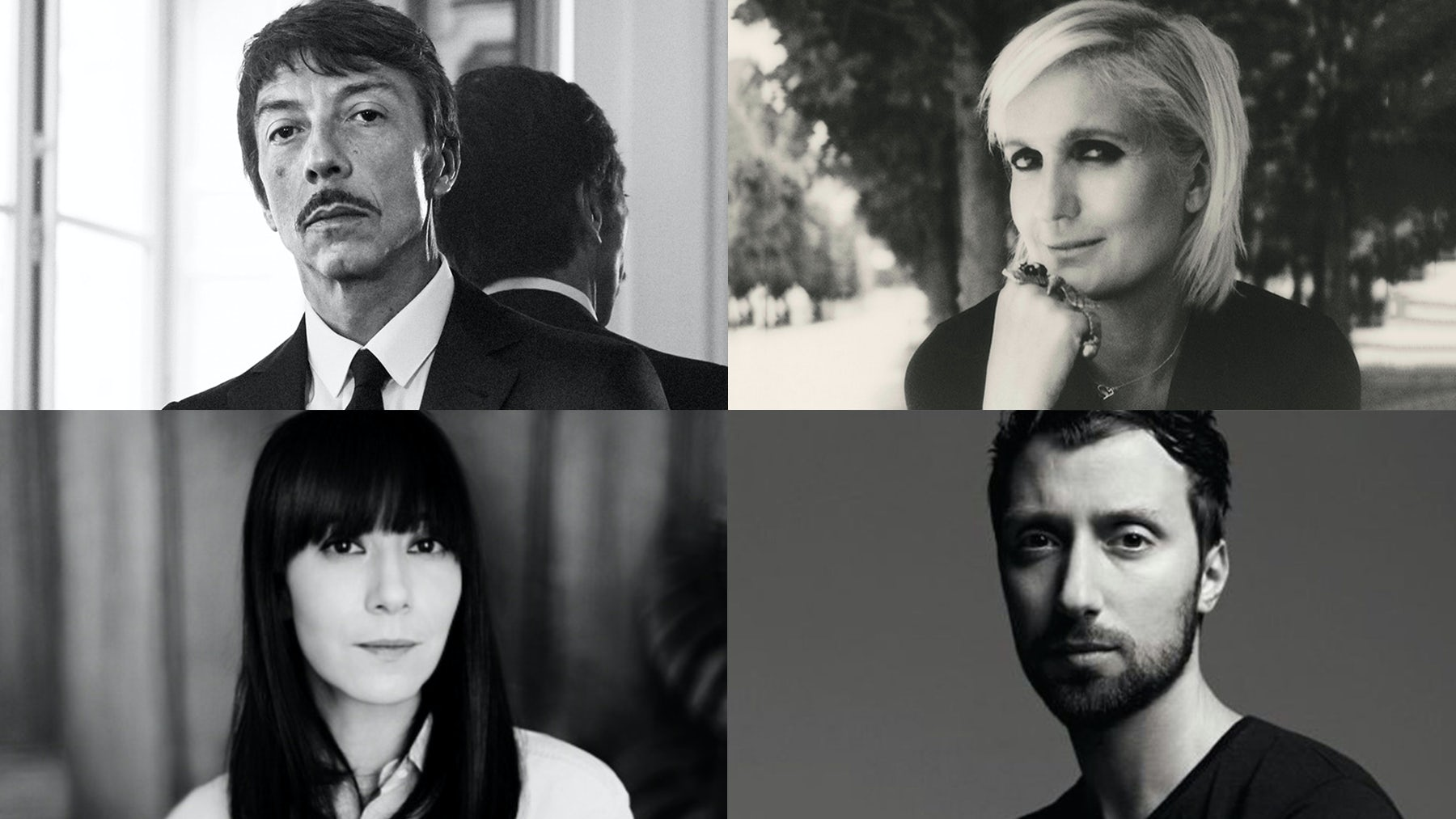Clockwise from top left: Pierpaolo Piccioli, Maria Grazia Chiuri, Bouchra Jarrar, Anthony Vaccarello | Source: Courtesy