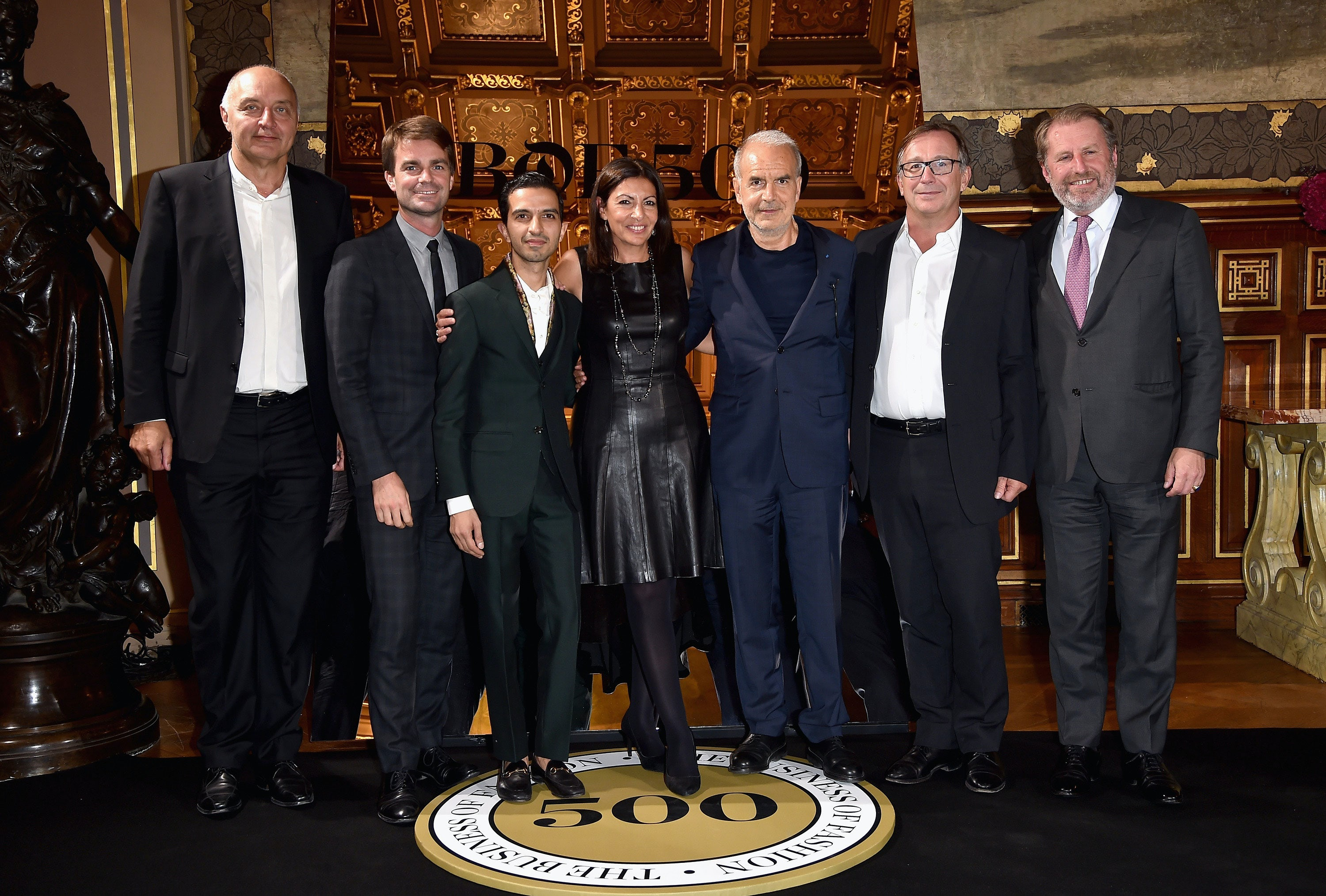 From left: Pascal Morand, Bruno Juilliard, Imran Amed, Anne Hidalgo, Ralph Toledano, Bruno Pavlovsky, Guillaume de Seynes | Photo: Getty