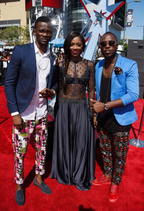 Tiwa Savage with Barabas and Master Just of Toofan at the BET Awards | Source: Getty