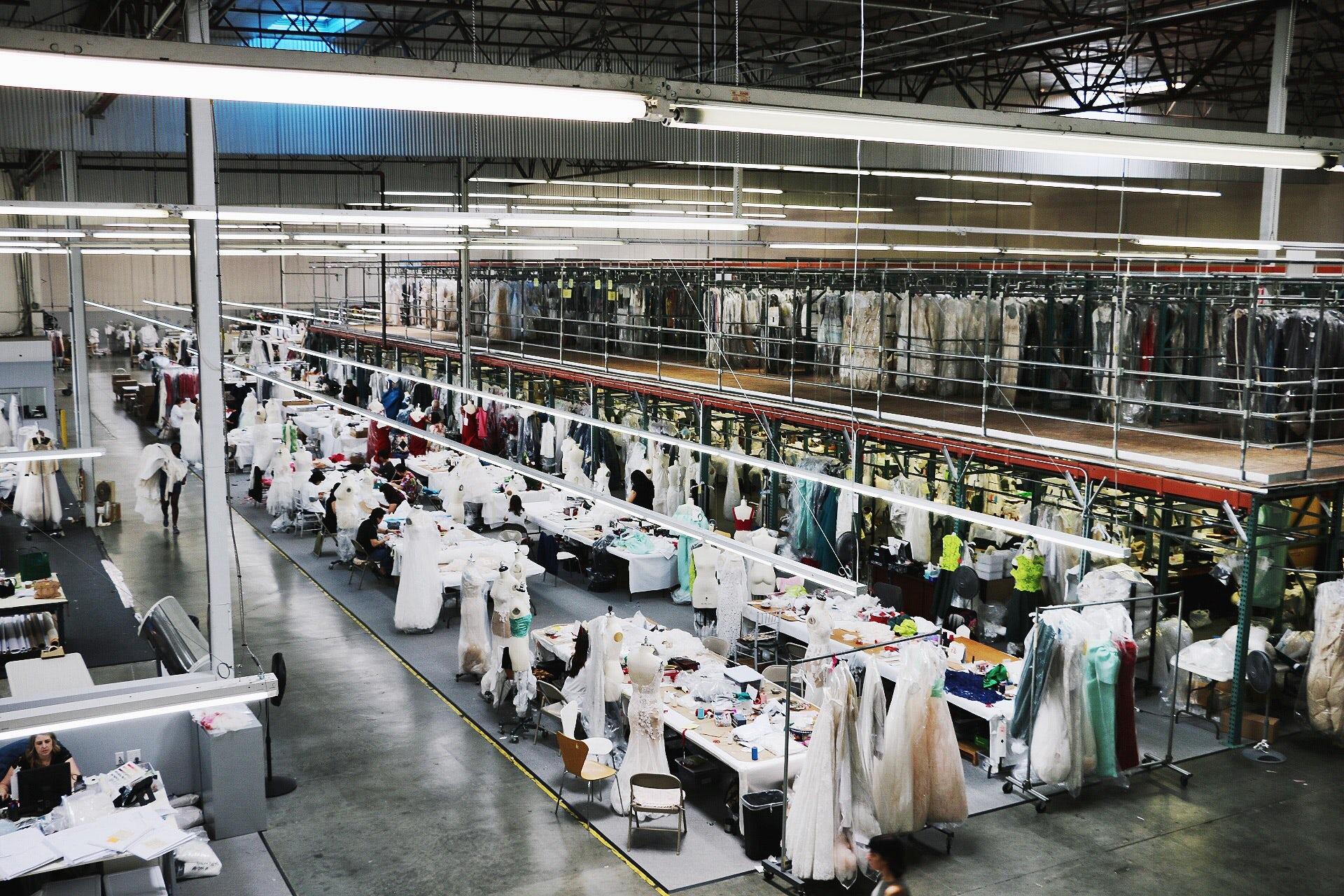 Monique Lhuillier's factory in Vernon, LA | Source: Courtesy