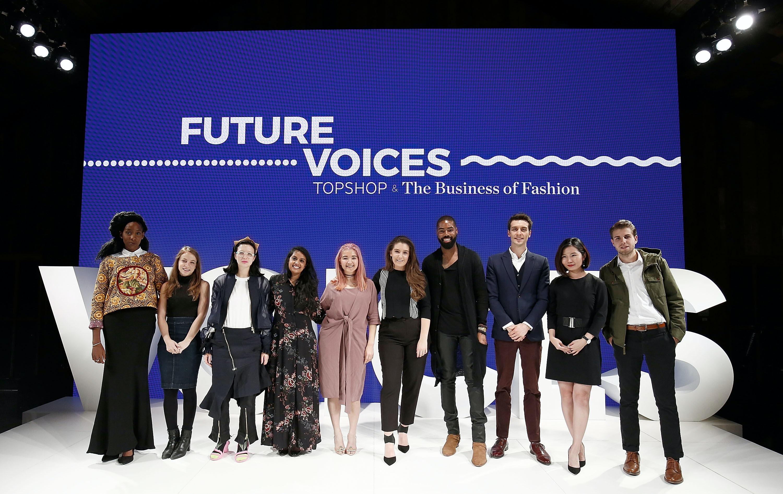 The Future VOICES, from left: Sekayi Fundafunda, Yarden Horwitz, Sara Arnold, Mitali Rakhit, Vienna Kim, Oana Simon, Nate Palmer, Marc Close, Hanzi Shen, Grant Lacy | Source: Getty