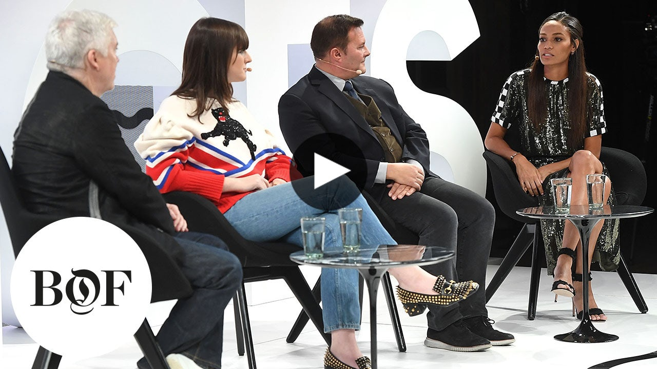 On the VOICES stage, from left: Tim Blanks, Hari Nef, Ivan Bart and Joan Smalls | Source: Getty