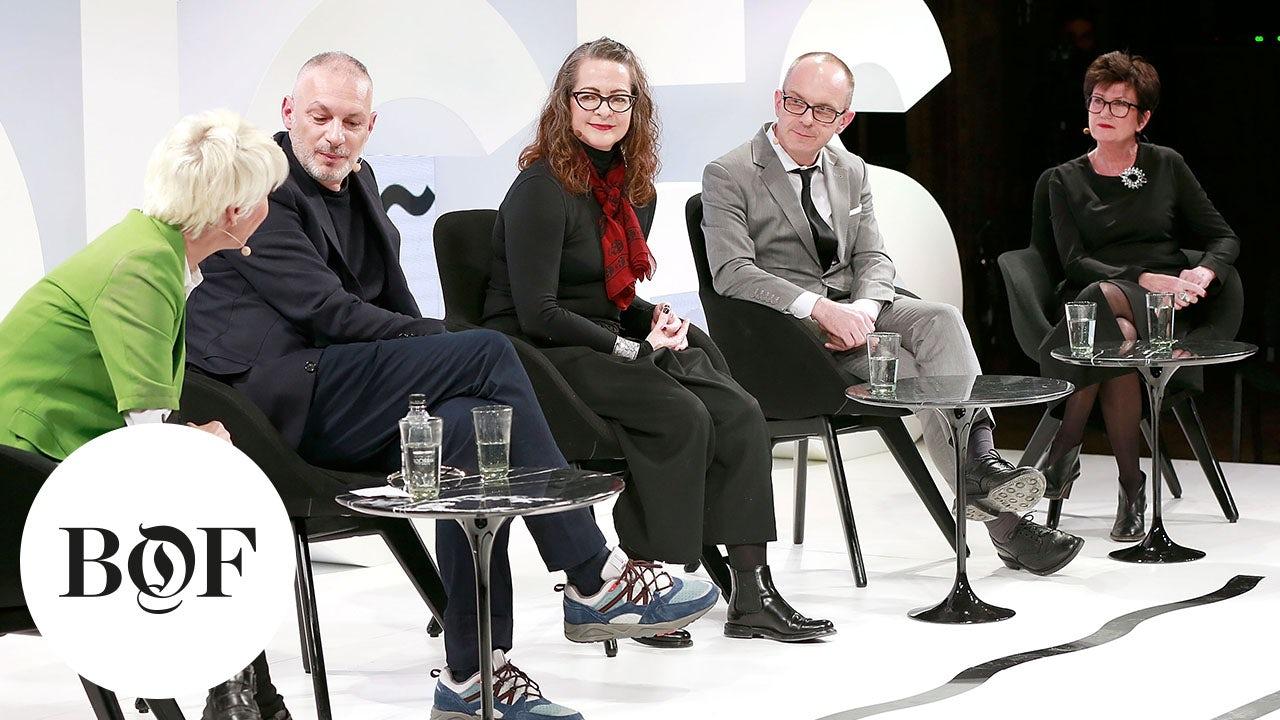 From left: Mimma Viglezio, Steven Kolb, Caroline Rush,Carlo Capasa and Pascal Morand   Source: Getty