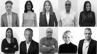The KCD Worldwide Executive Board, top row from left: Txampi Diz, Julie Mannion, Laurence Laure, Marty Griffeth, Renee Barletta. Bottom row, from left: Rachna Shah, Jarrad Clark, Ed Filipowski, Nan Richards, Kerry Youmans