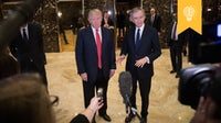President-elect Donald Trump and French businessman Bernard Arnault, chief executive officer of LVMH, speak to reporters at Trump Tower | Source: Getty Images