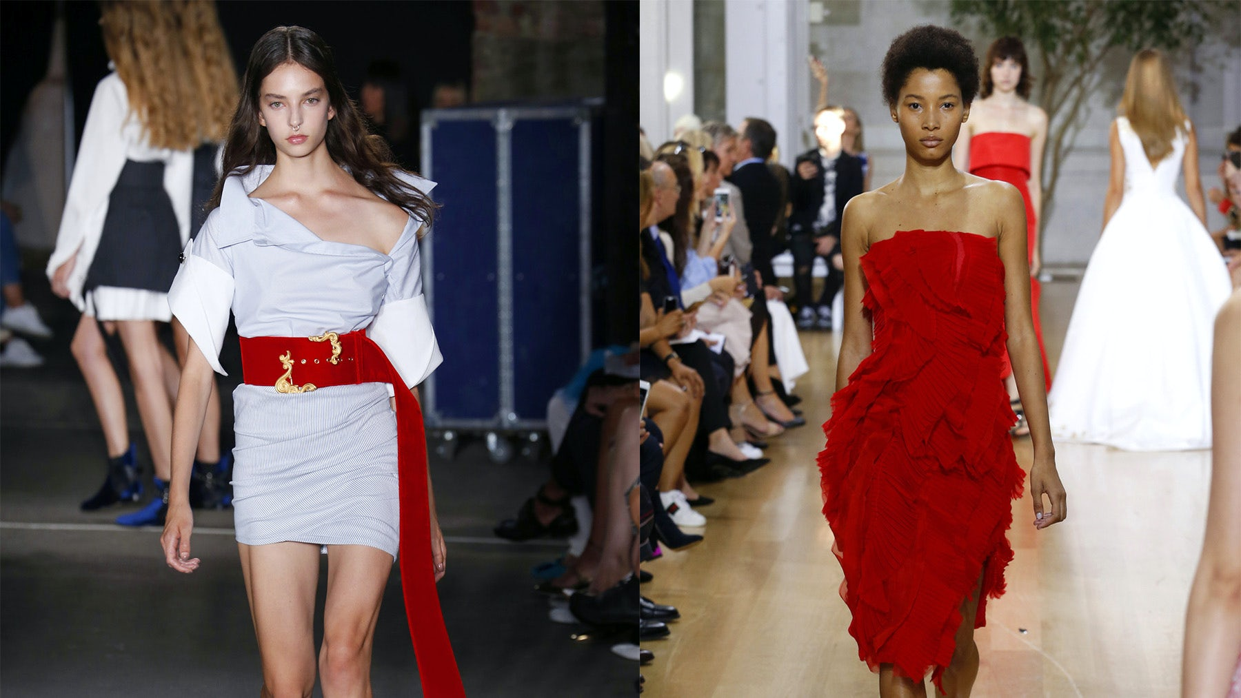 Spring/Summer 2017 looks from Monse (left) and Oscar de la Renta (right) | Source: Indigital