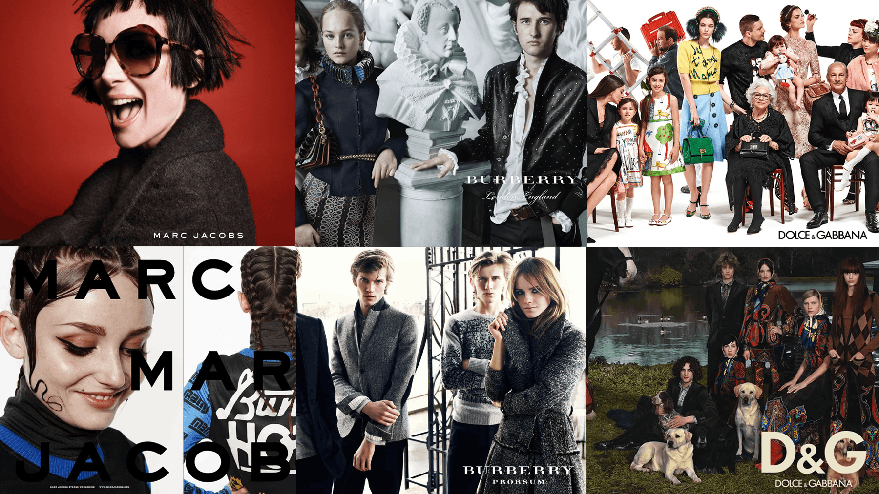 Campaign images clockwise from top left: Marc Jacobs, Burberry, Dolce & Gabbana, D&G, Burberry Prorsum, Marc by Marc Jacobs | Source: Courtesy