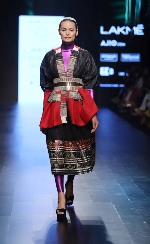 Transgender model Anjali Lama in Amit Aggarwal | Courtesy Lakme Fashion Week