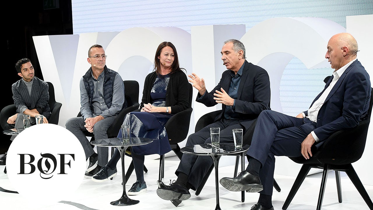 From left: Imran Amed, Steven Kolb, Caroline Rush, Carlo Capasa, Pascal Morand | Source: Getty