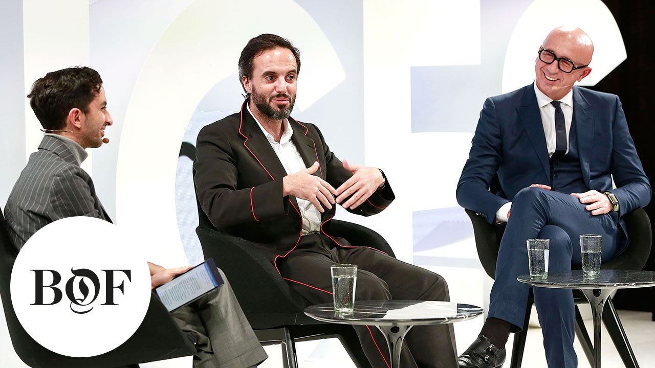 José Neves (centre) and Marco Bizzarri (right) on stage at VOICES | Source: Getty