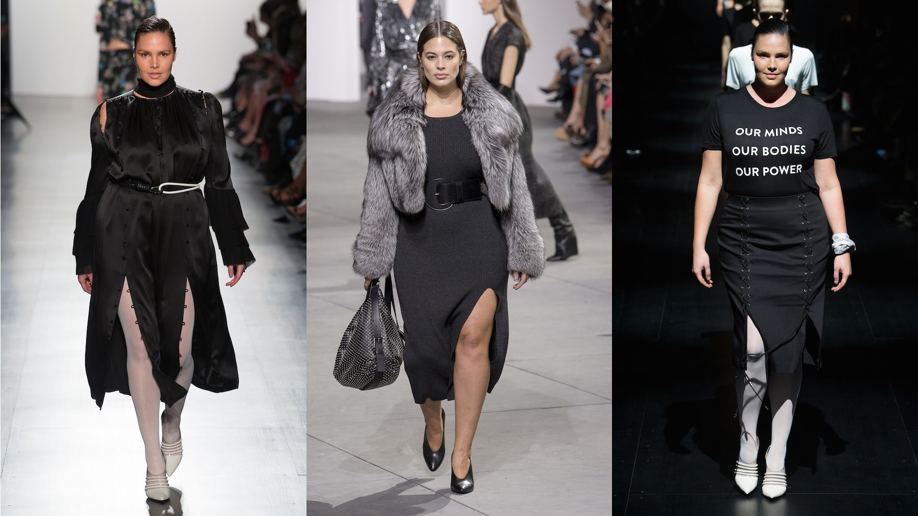 Candice Huffine for Prabal Gurung (left and right) Ashley Graham for Michael Kors (centre) | Source: InDigital