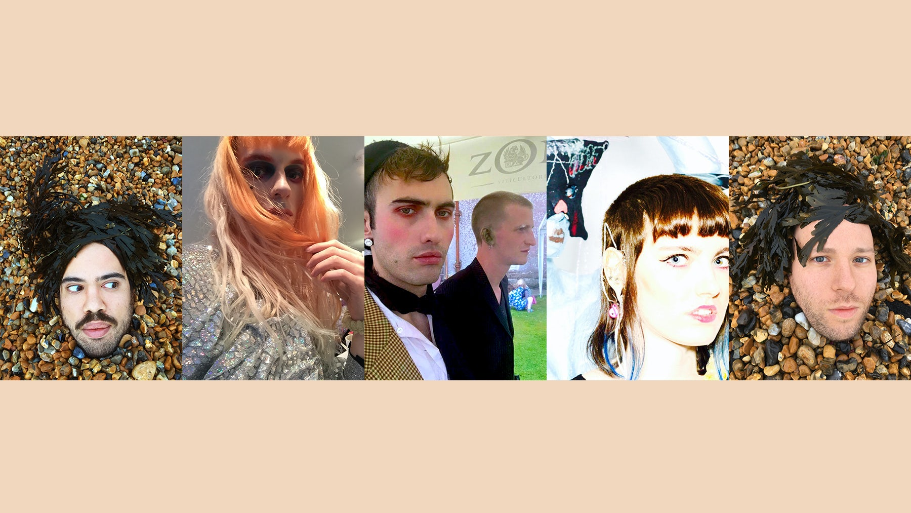 A series of selfies created exclusively for BoF. From left: Luke Brooks, Matty Bovan, Charles Jeffrey, Jack Appleyard, Claire Barrow, James Theseus Buck
